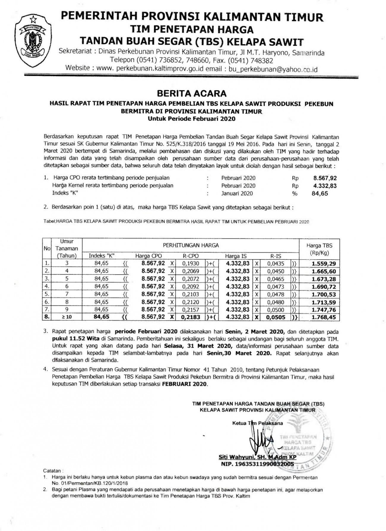 Informasi Harga TBS Kelapa Sawit Bagi Pekebun Bermitra Bulan Februari 2020