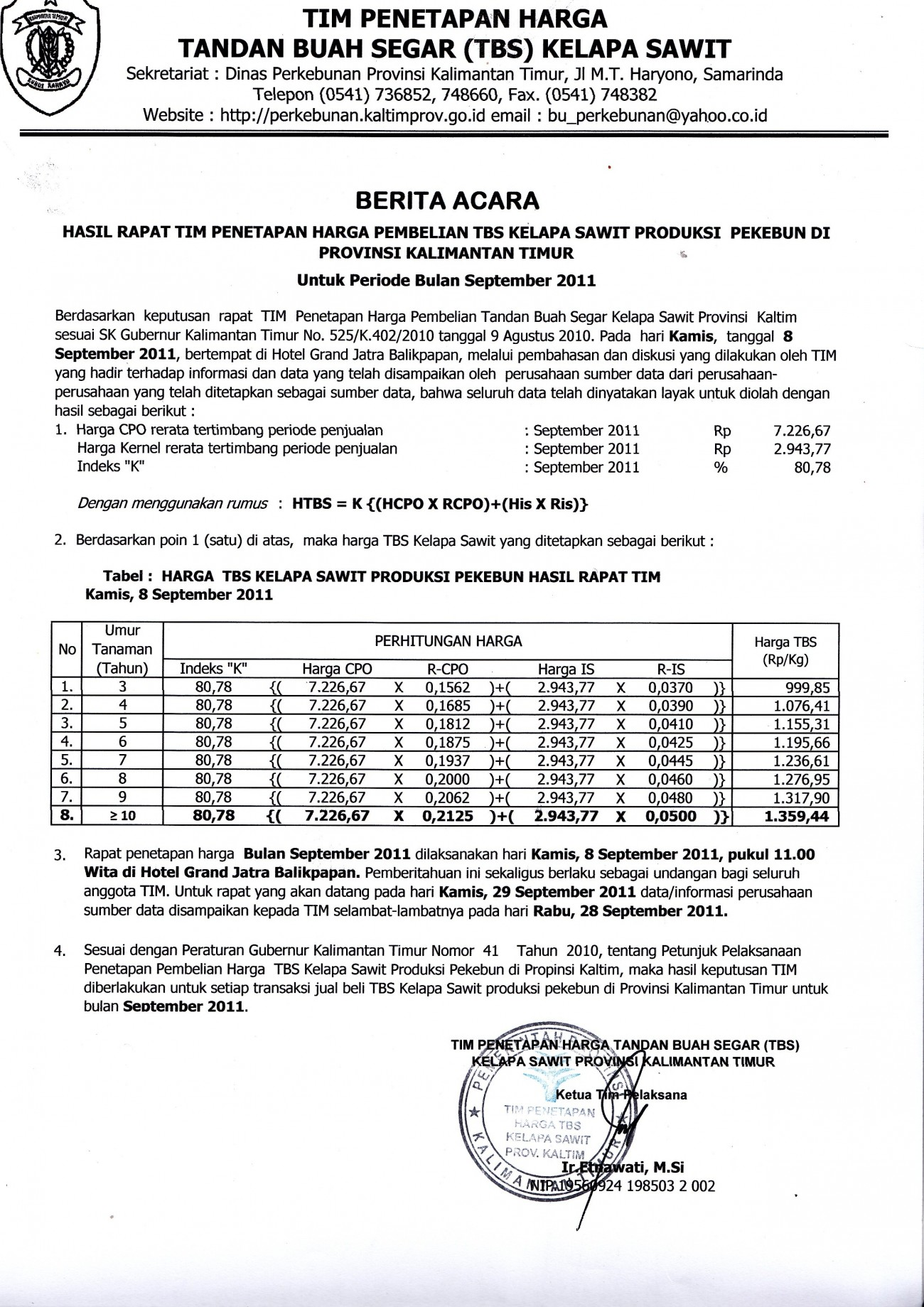 Informasi Harga TBS Kelapa Sawit untuk Bulan September 2011