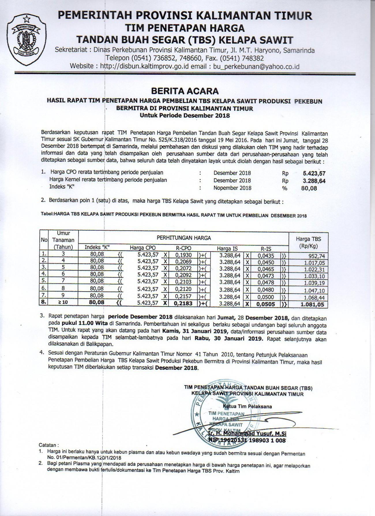 Informasi Harga TBS Kelapa Sawit Bagi Pekebun Bermitra Bulan Desember 2018