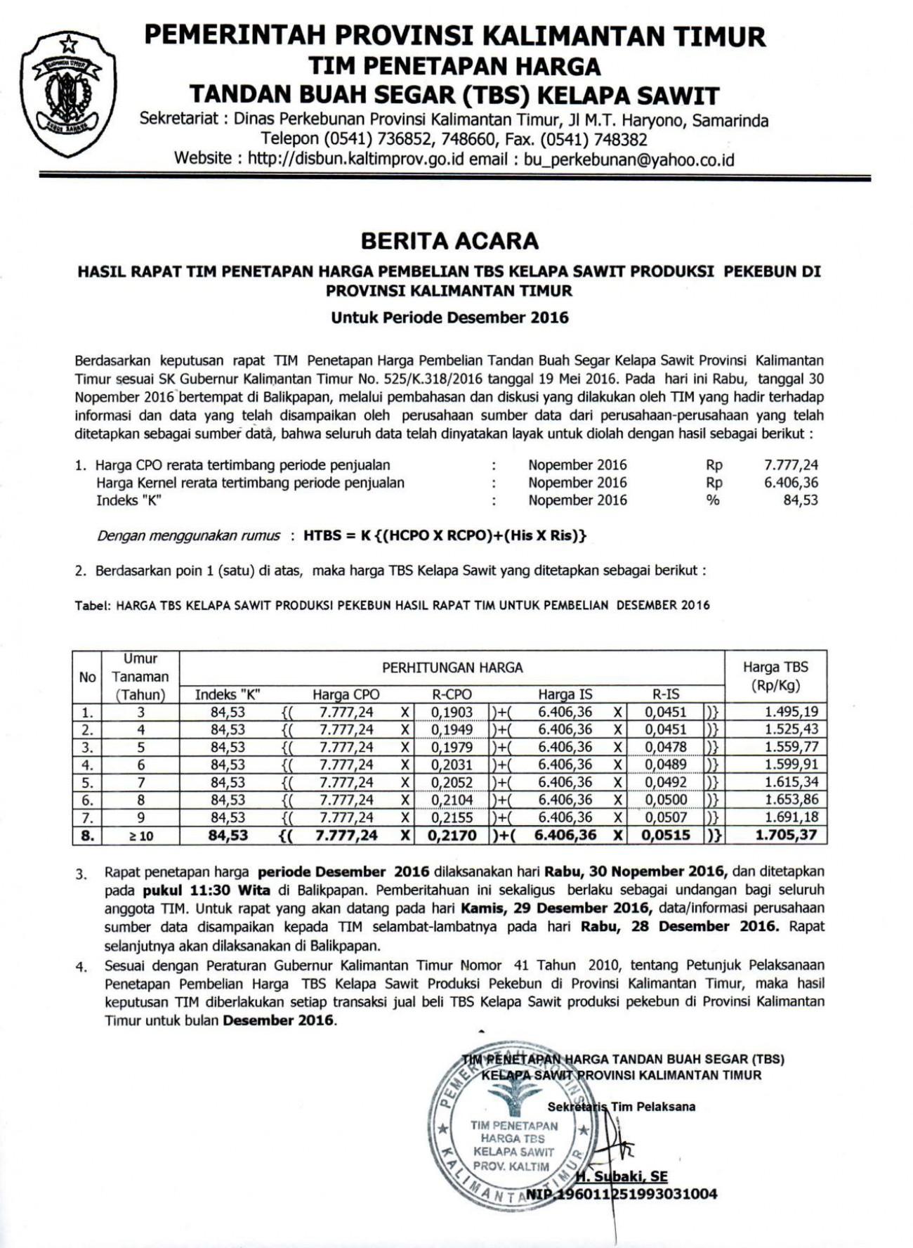 Informasi Harga TBS Kelapa Sawit Bulan Desember 2016