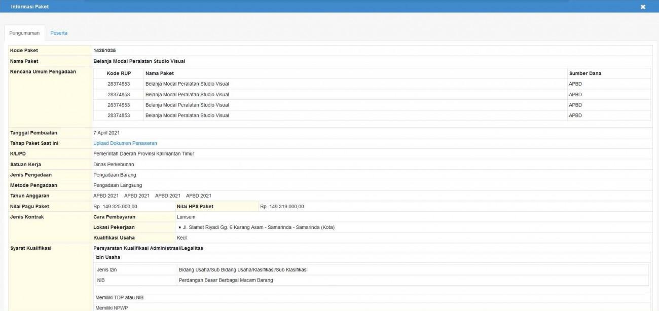 Belanja Modal Peralatan Studio Visual