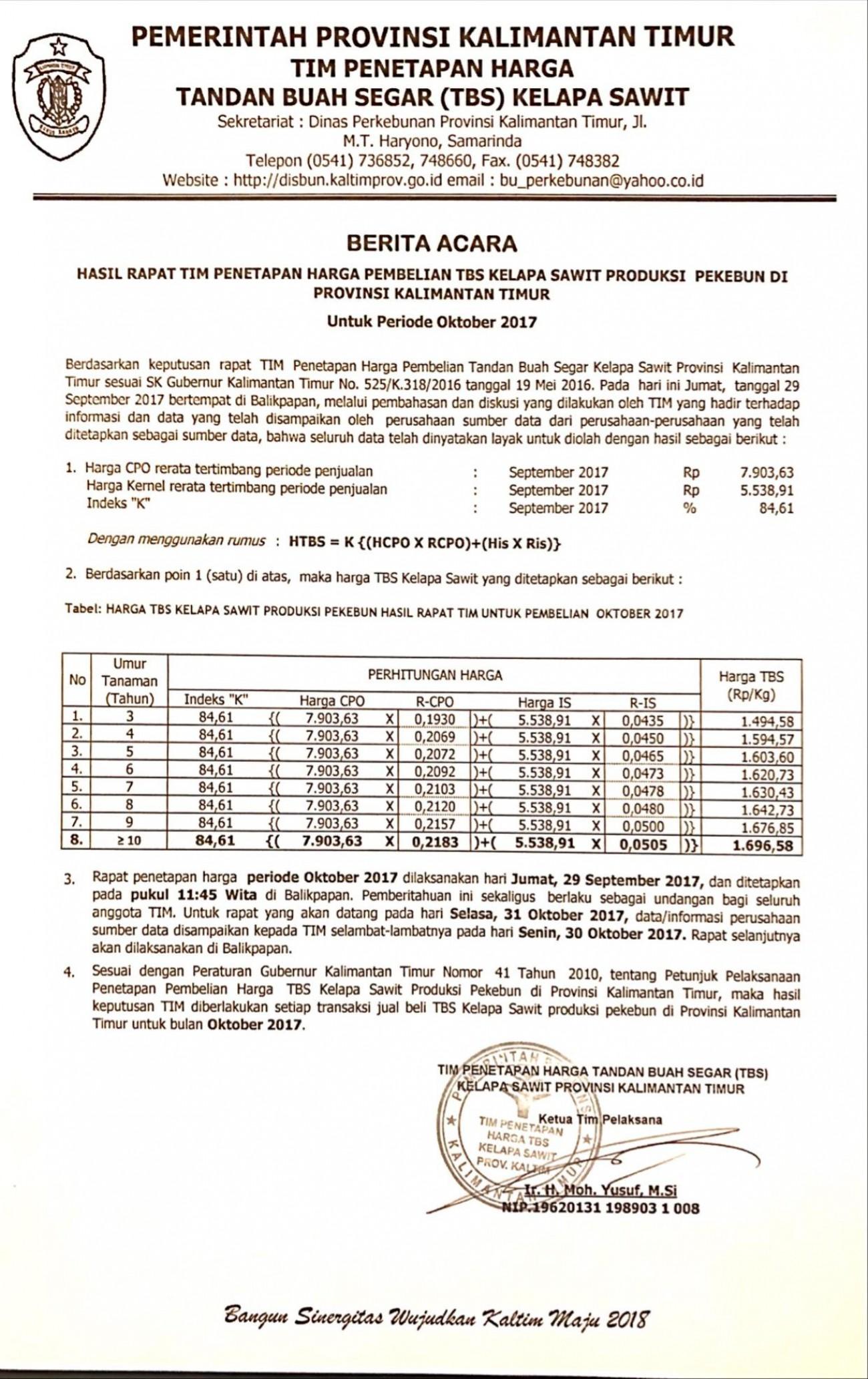 Informasi Harga TBS Kelapa Sawit Bulan Oktober 2017