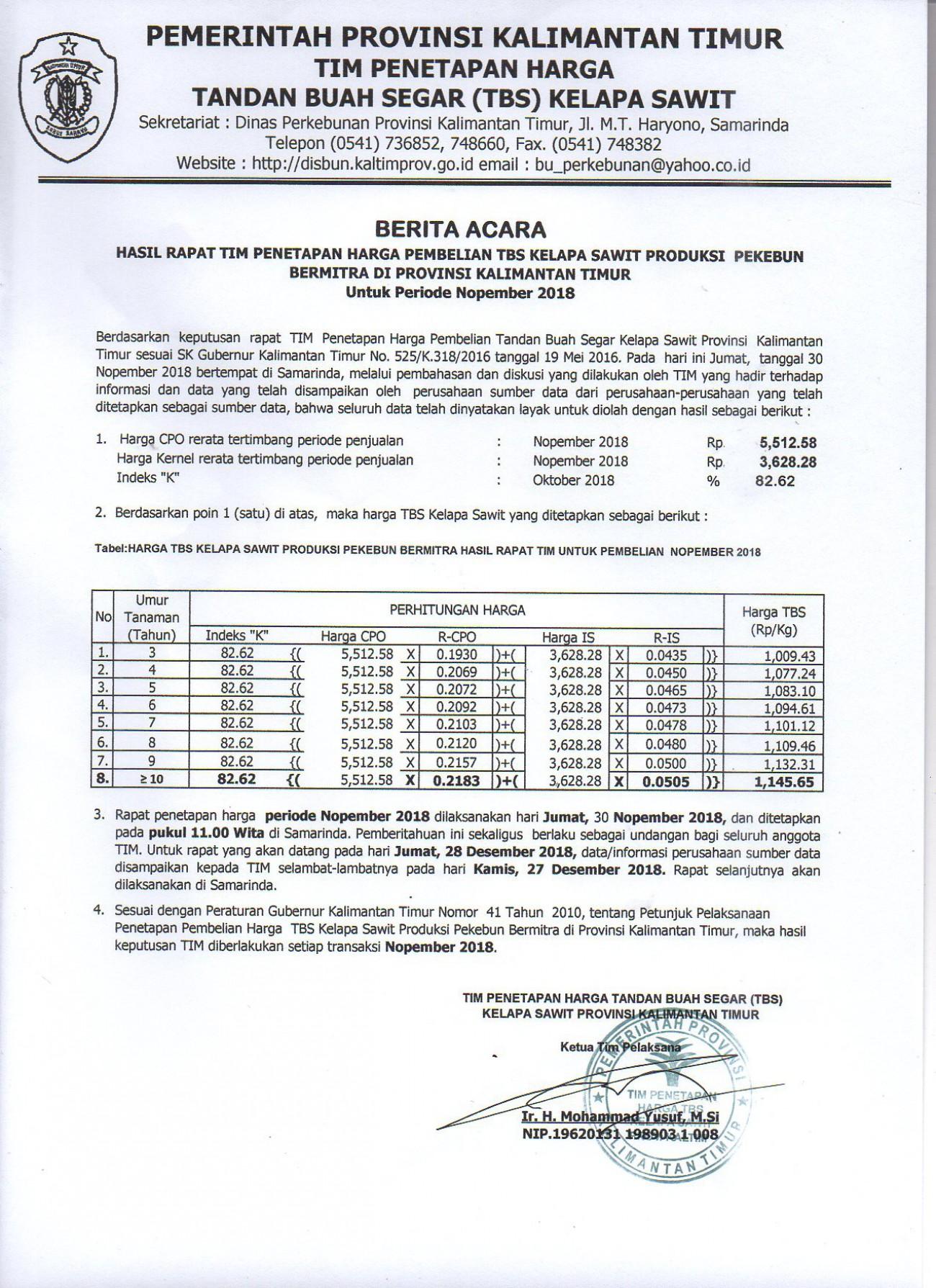 Informasi Harga TBS Kelapa Sawit Bulan November 2018