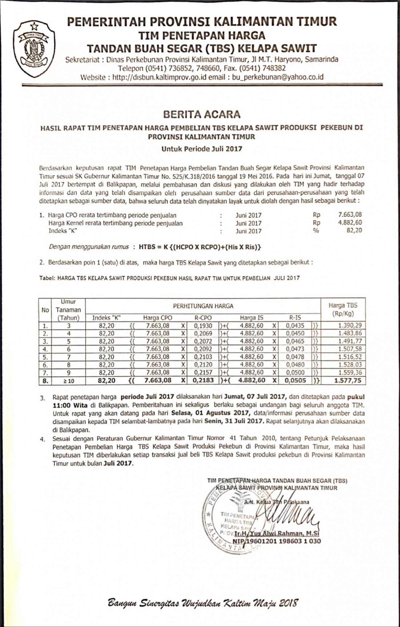 Informasi Harga TBS Kelapa Sawit Bulan Juli 2017