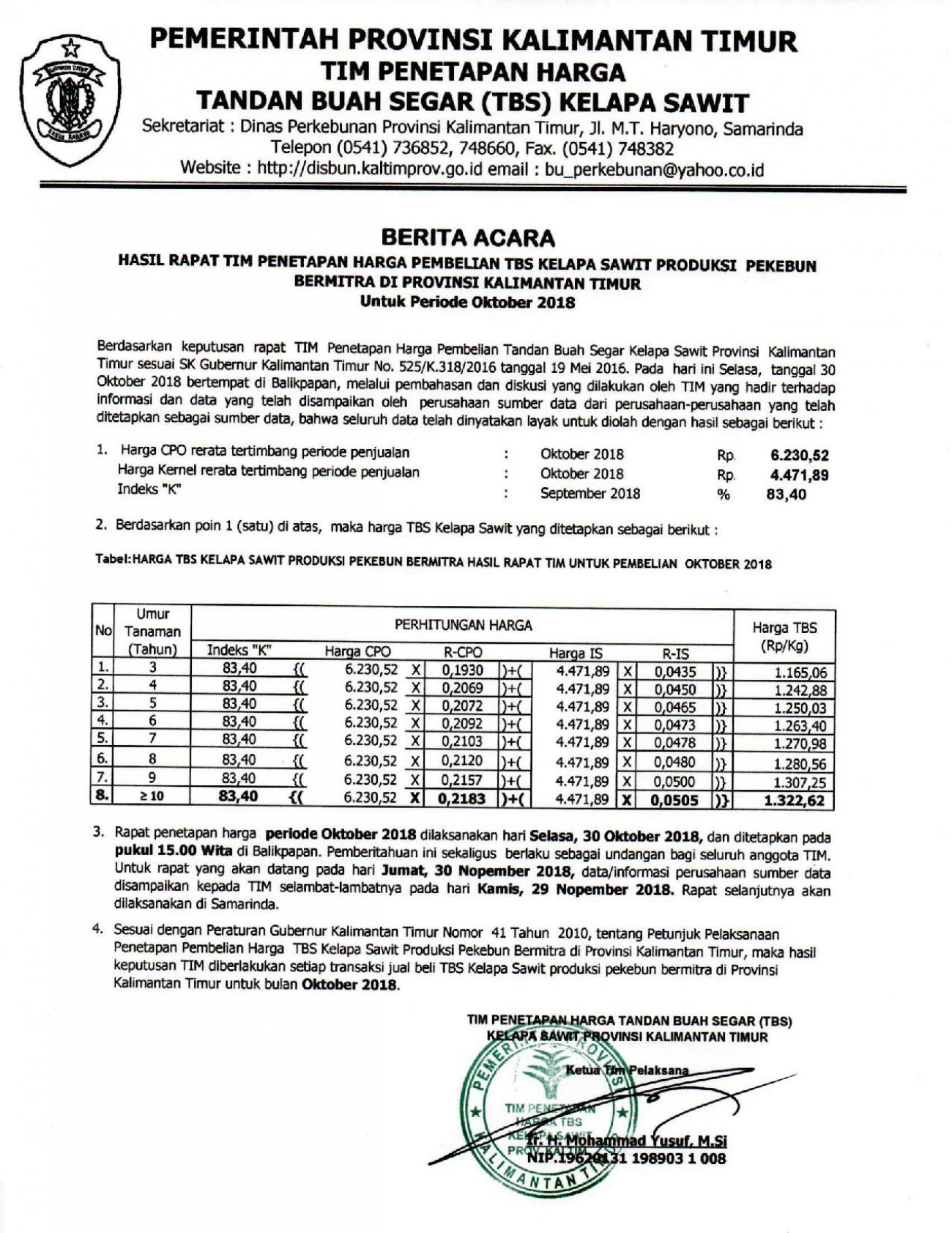 Informasi Harga TBS Kelapa Sawit Bulan Oktober 2018