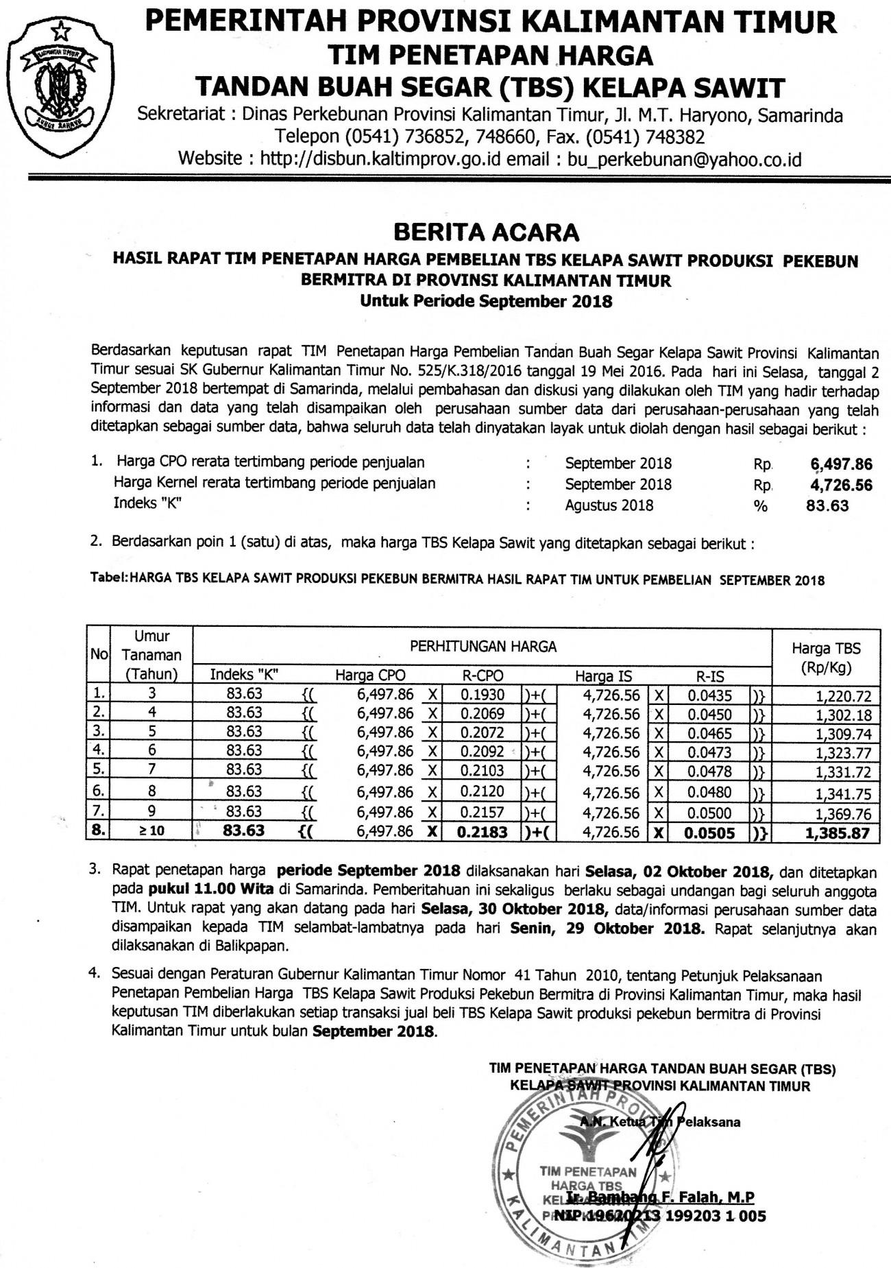 Informasi Harga TBS Kelapa Sawit Bulan September 2018