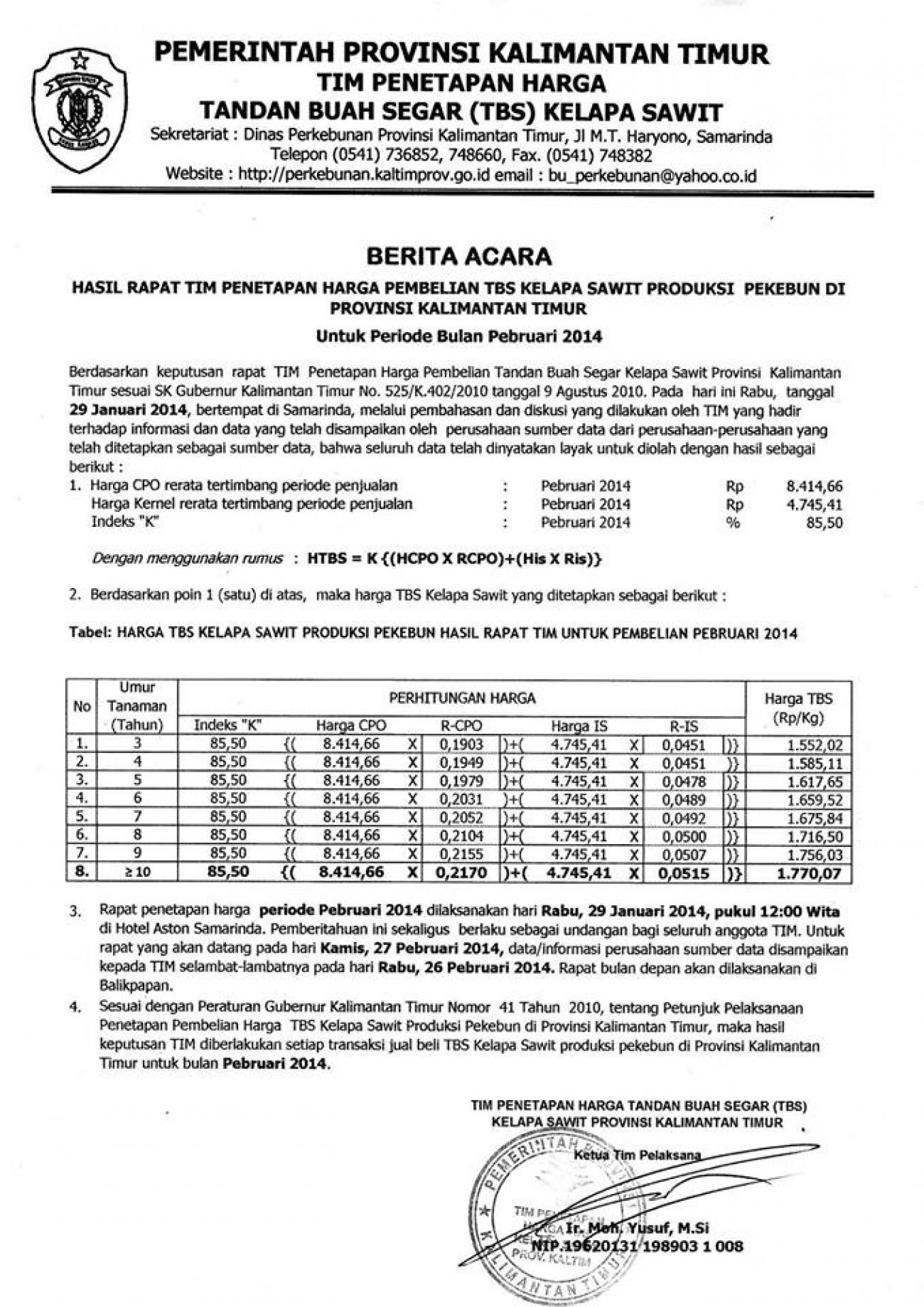 Informasi Harga TBS Kelapa Sawit Bulan Februari 2014