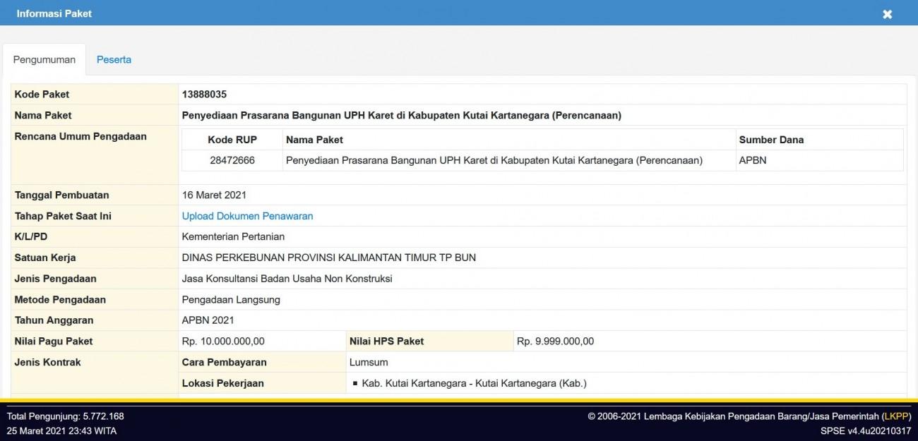 Penyediaan Prasarana Bangunan UPH Karet di Kabupaten Kutai Kartanegara (Perencanaan)