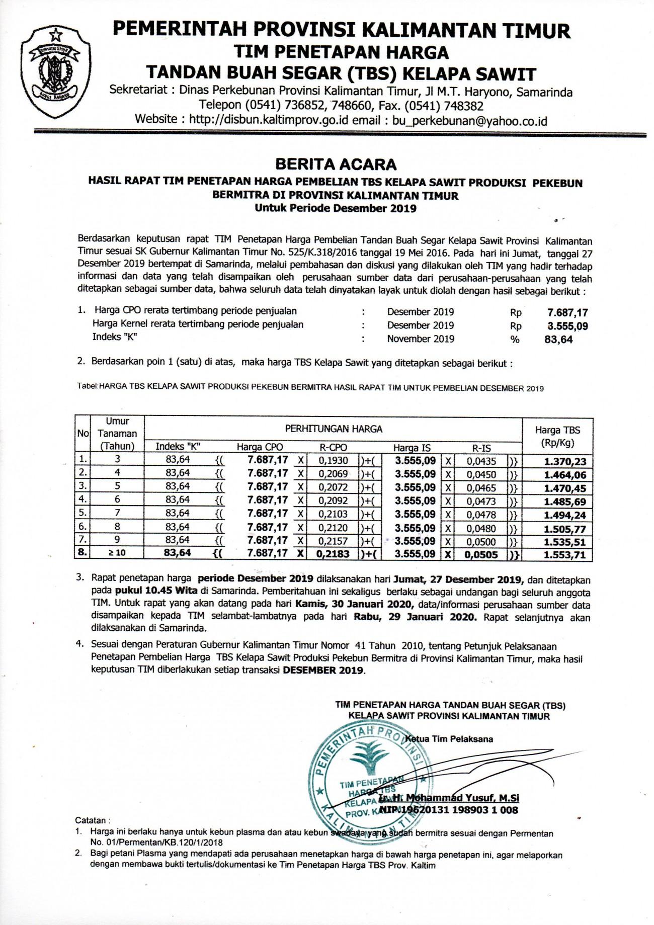 Informasi Harga TBS Kelapa Sawit Bagi Pekebun Bermitra Bulan Desember 2019