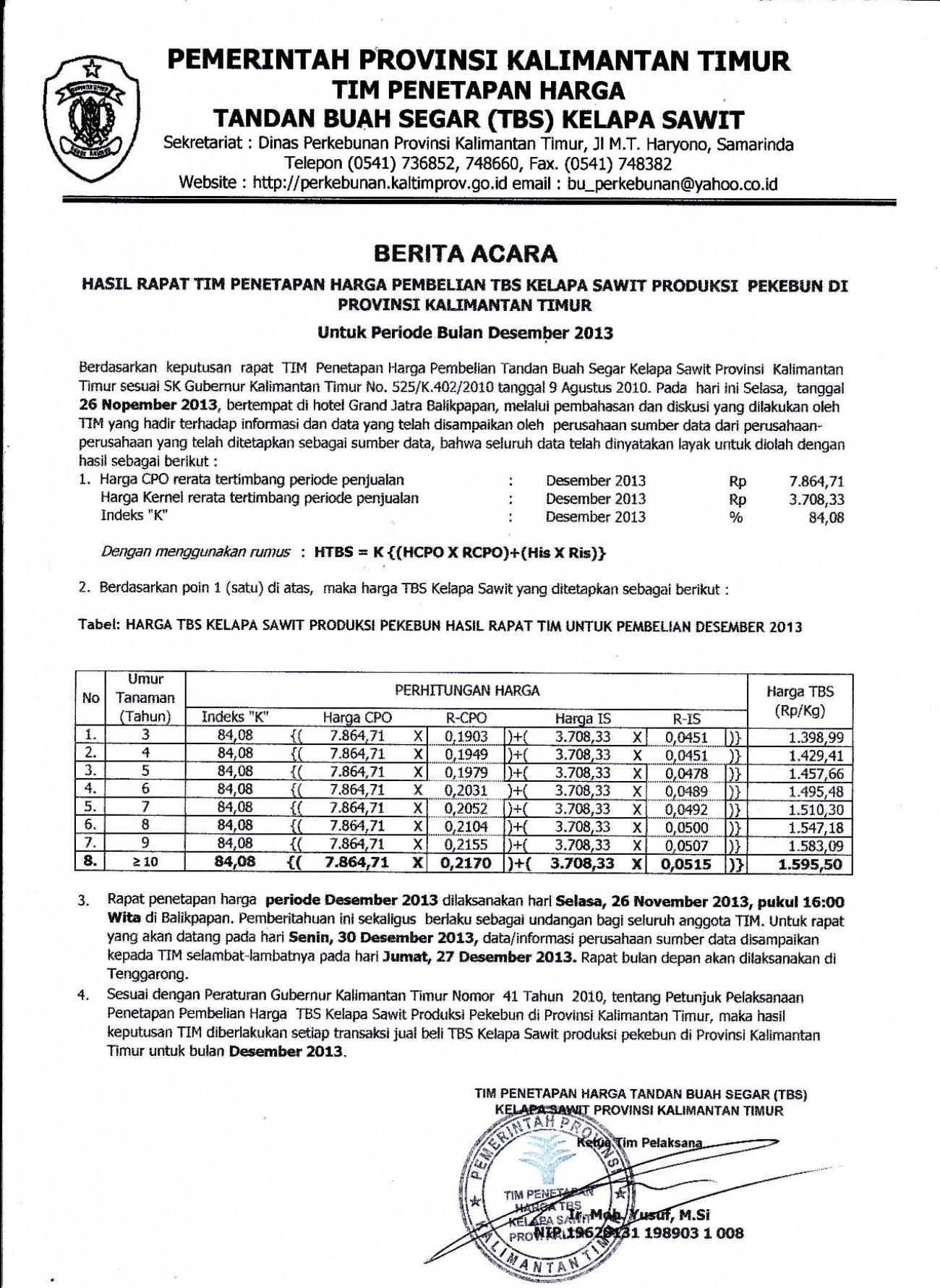 Informasi Harga TBS Kelapa Sawit Bulan Desember 2013