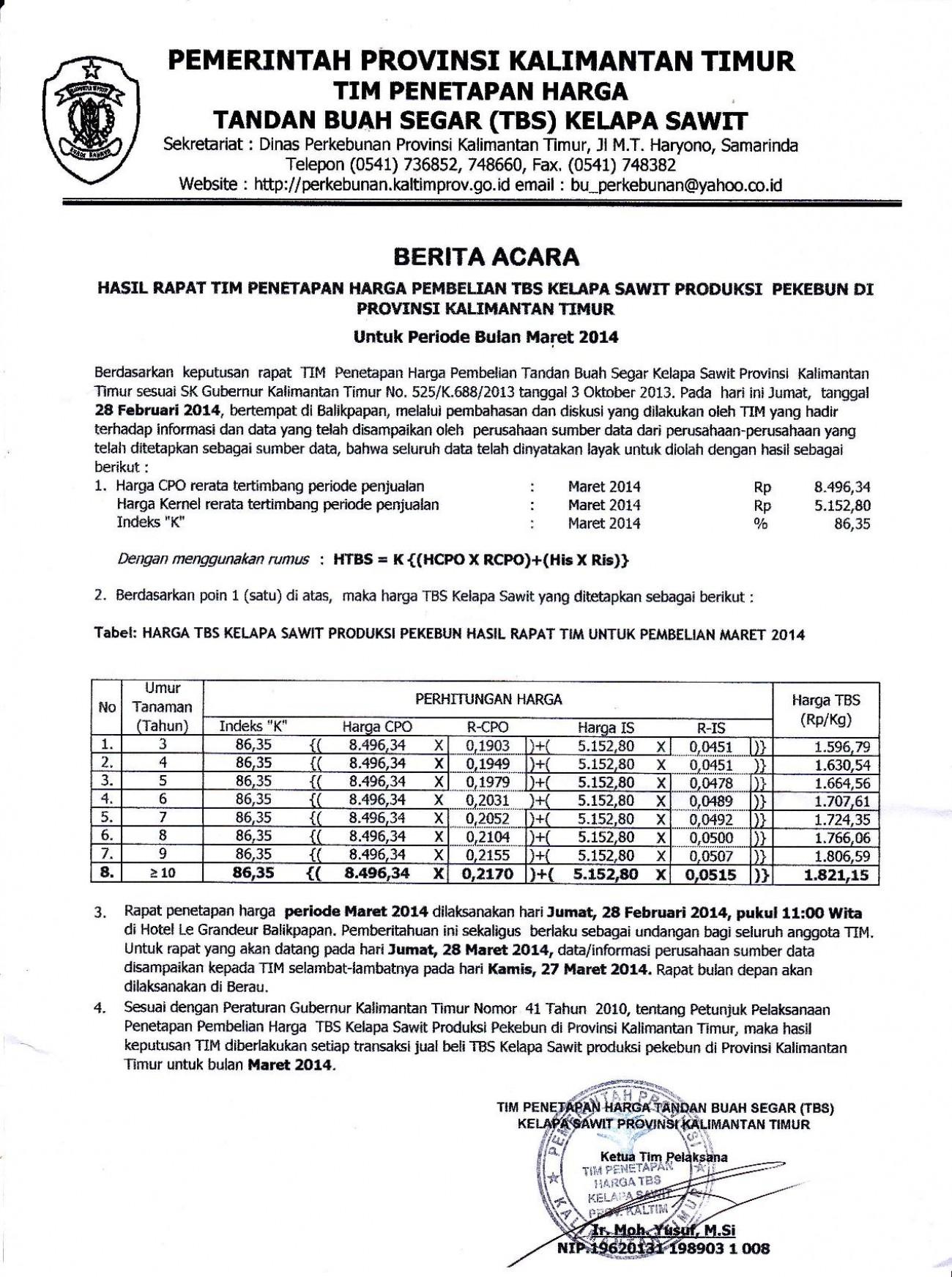Informasi Harga TBS Kelapa Sawit Bulan Maret 2014
