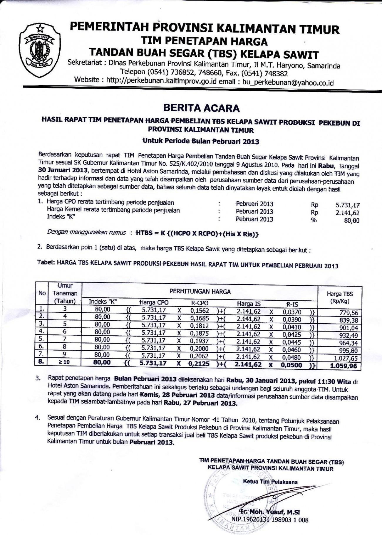 Informasi Harga TBS Kelapa Sawit Bulan Pebruari 2013