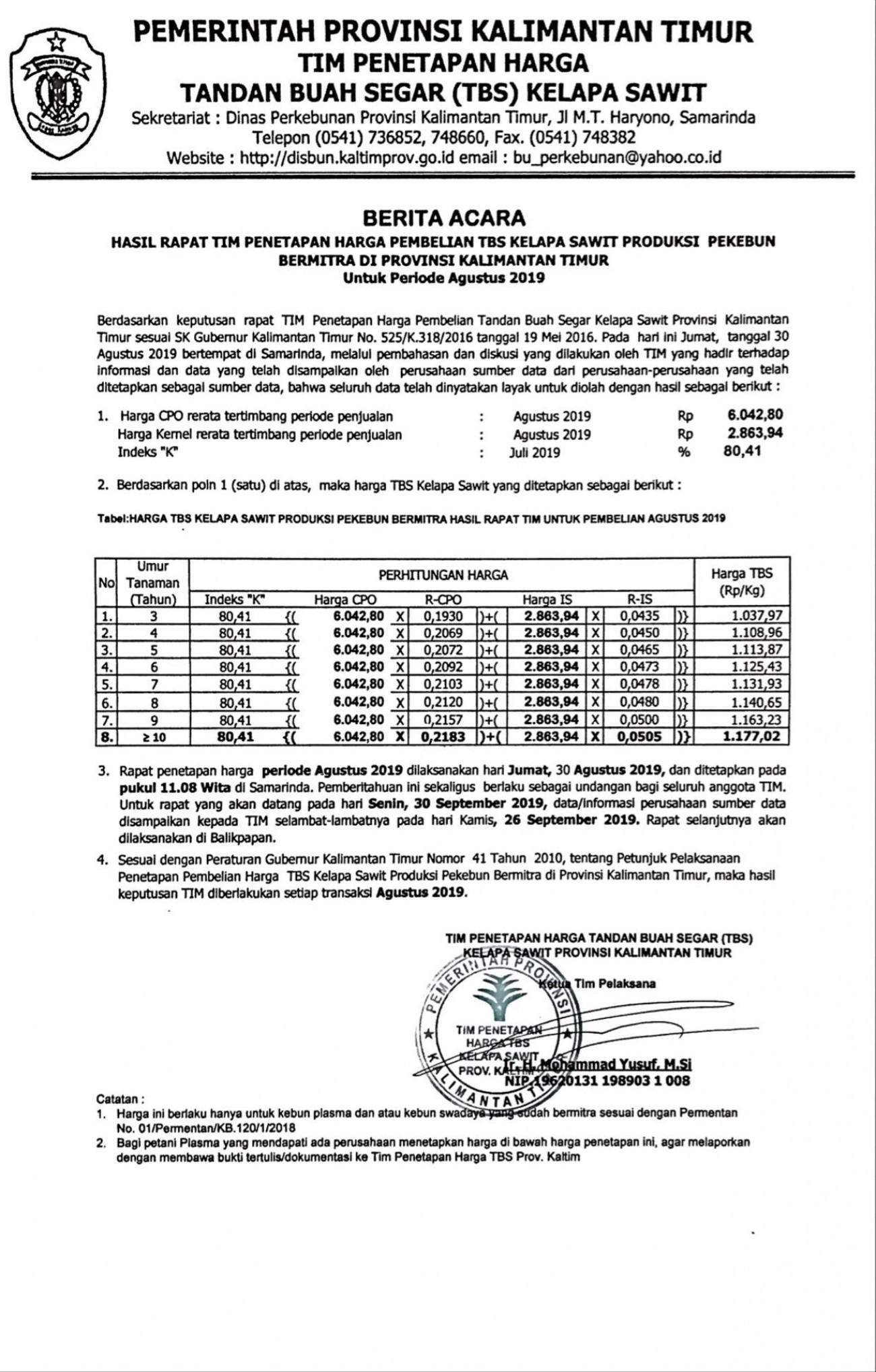 Informasi Harga TBS Kelapa Sawit Bagi Pekebun Bermitra Bulan Agustus 2019