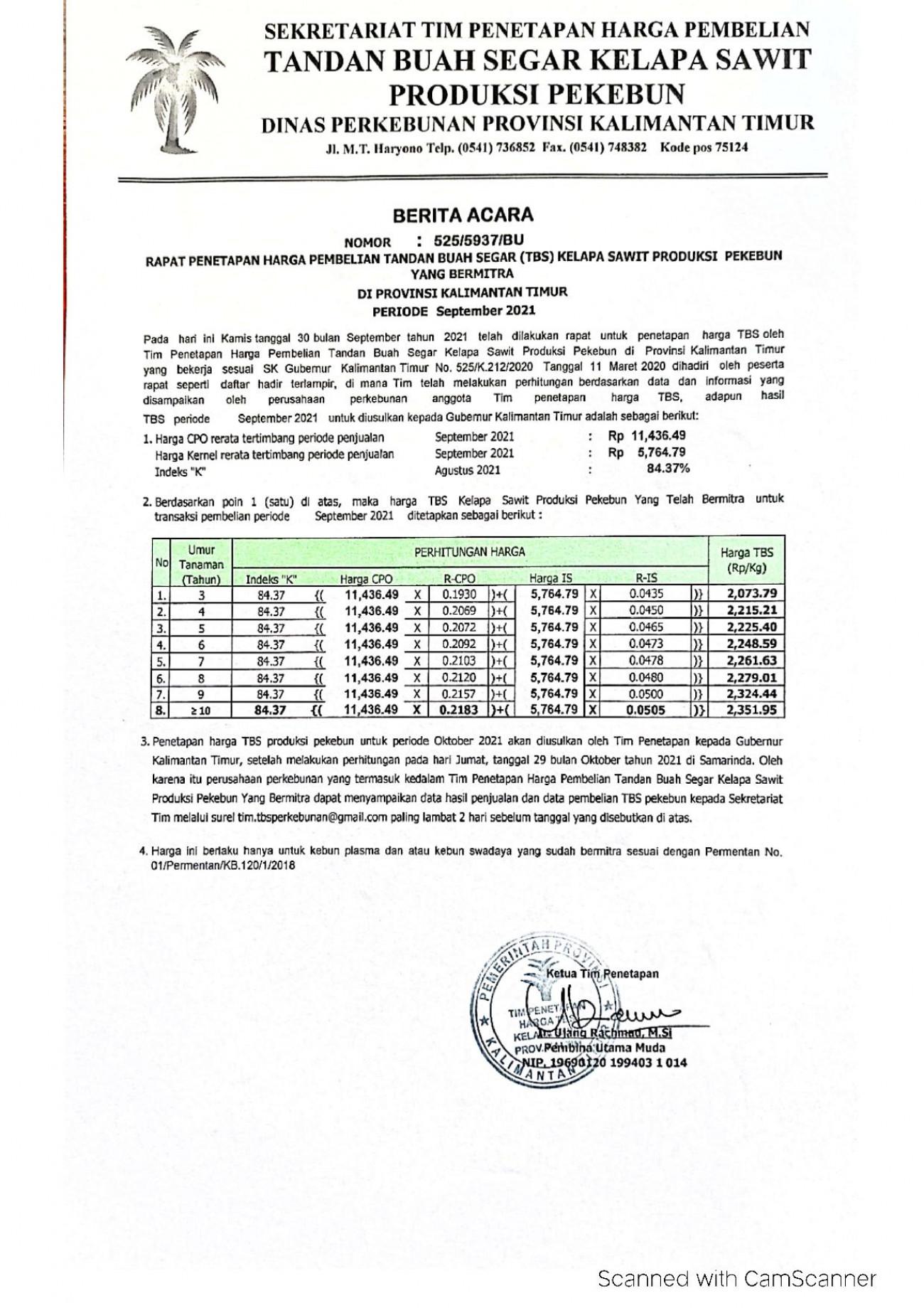Informasi Harga TBS Kelapa Sawit Bagi Pekebun Bermitra Bulan September 2021