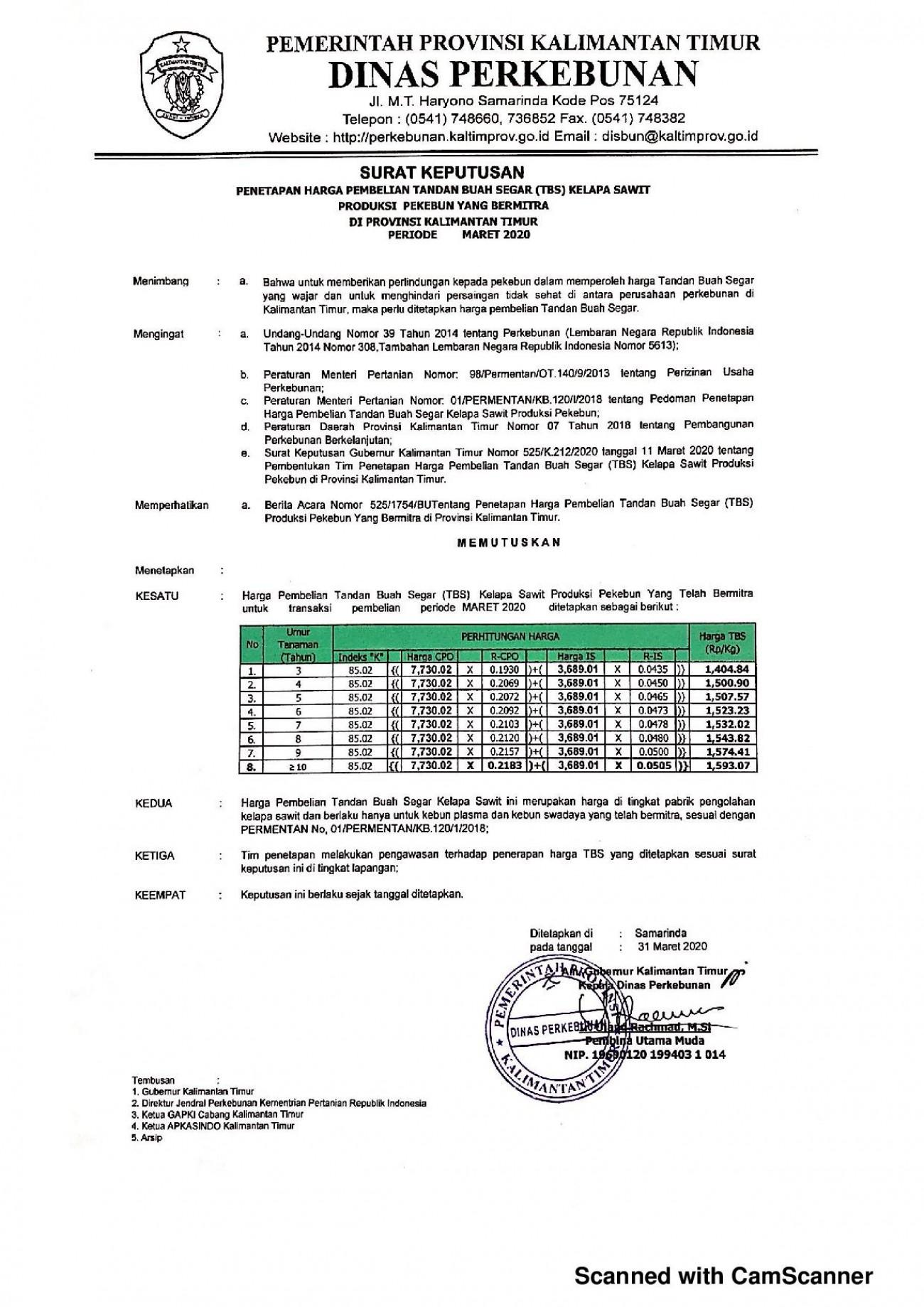 Informasi Harga TBS Kelapa Sawit Bagi Pekebun Bermitra Bulan Maret 2020