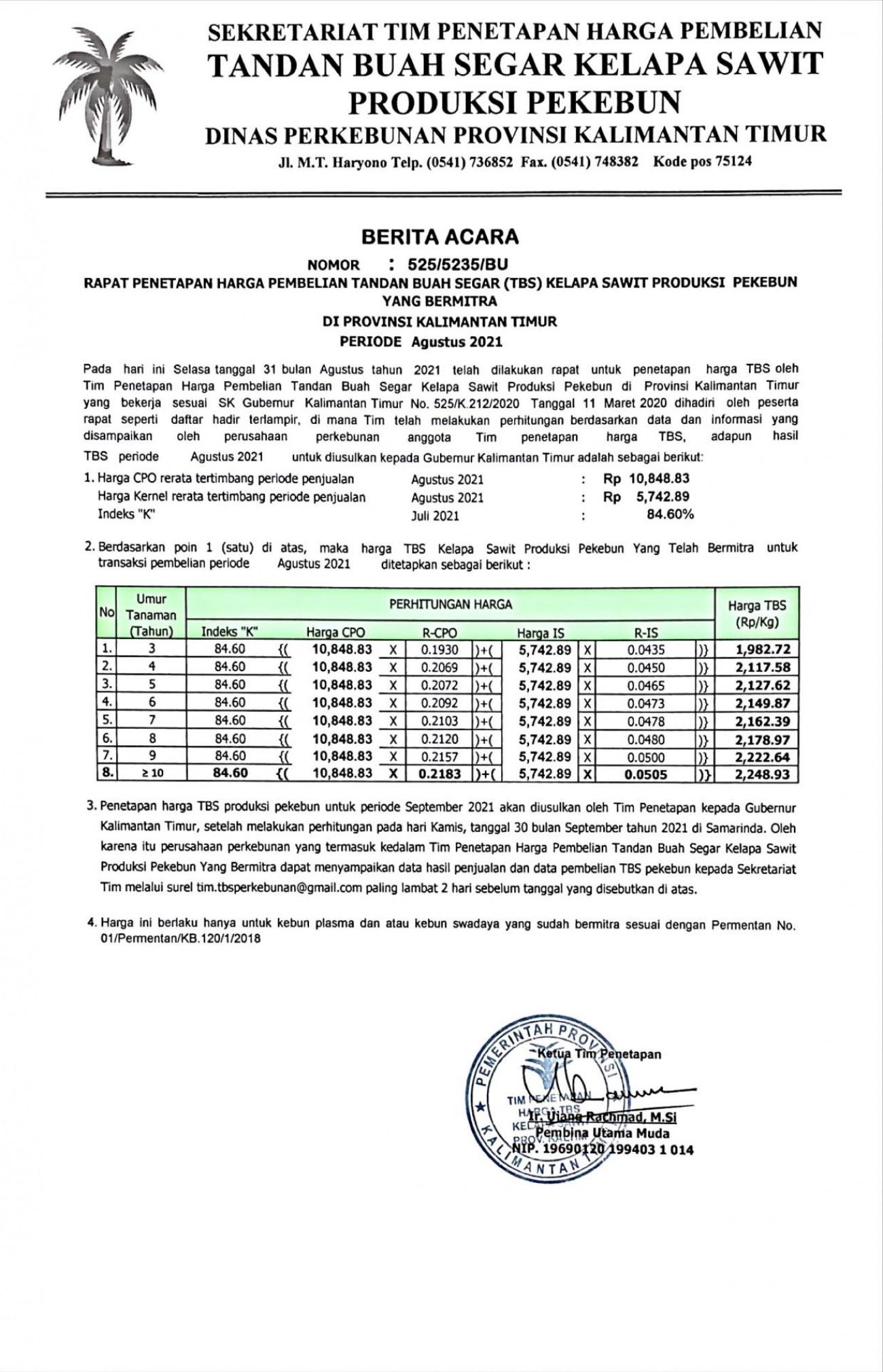 Informasi Harga TBS Kelapa Sawit Bagi Pekebun Bermitra Bulan Agustus 2021