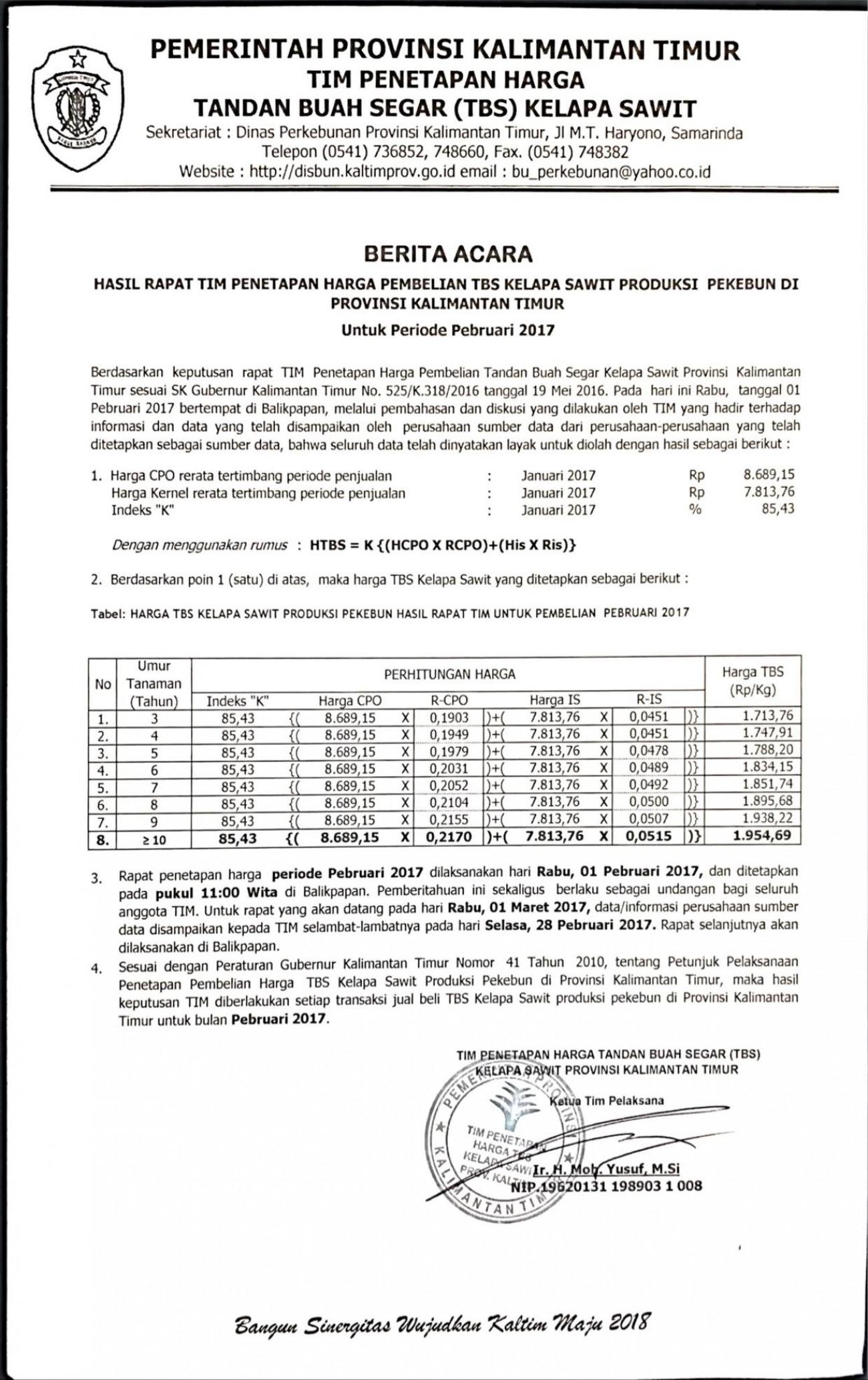 Informasi Harga TBS Kelapa Sawit Bulan Pebruari 2017