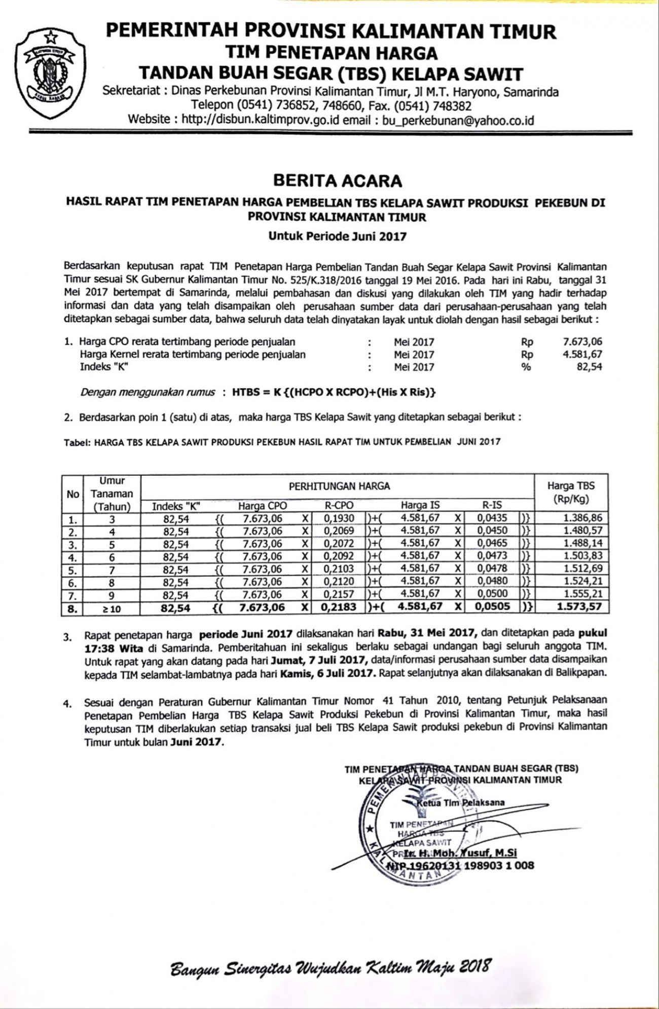 Informasi Harga TBS Kelapa Sawit Bulan Juni 2017