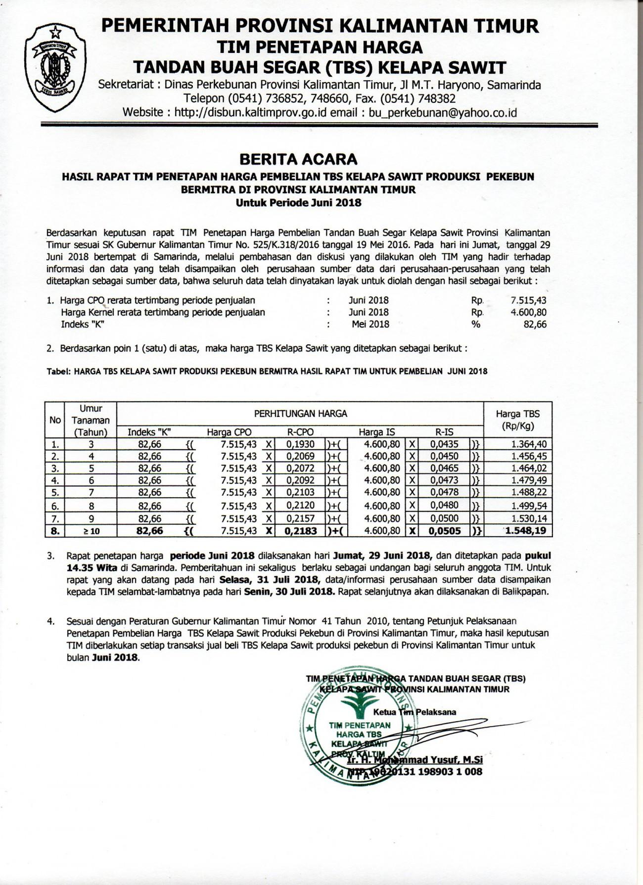 Informasi Harga TBS Kelapa Sawit Bulan Juni 2018