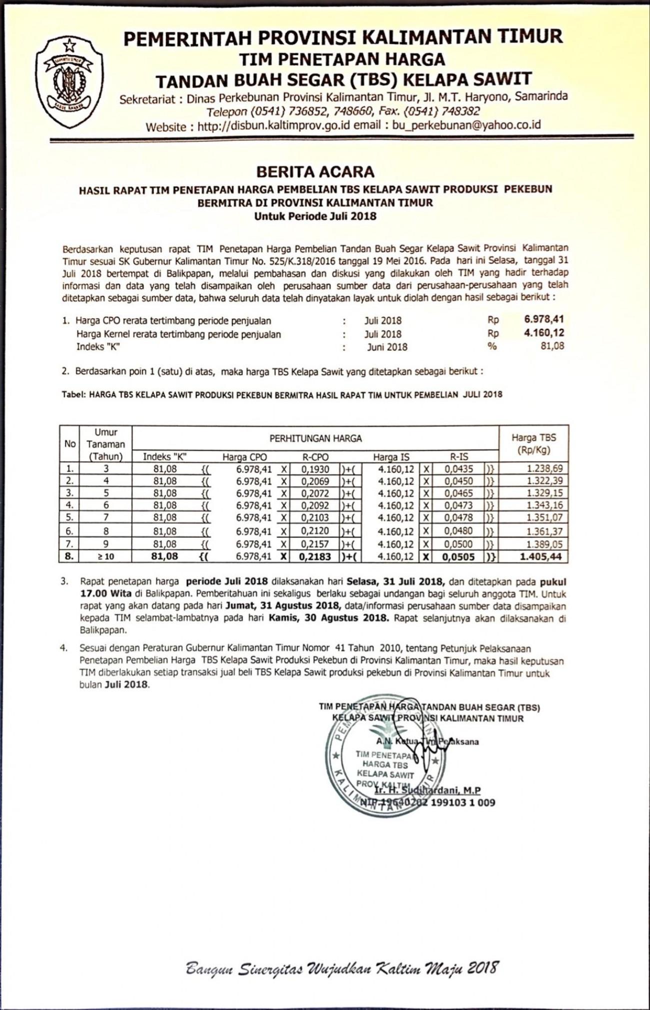 Informasi Harga TBS Kelapa Sawit Bulan Juli 2018