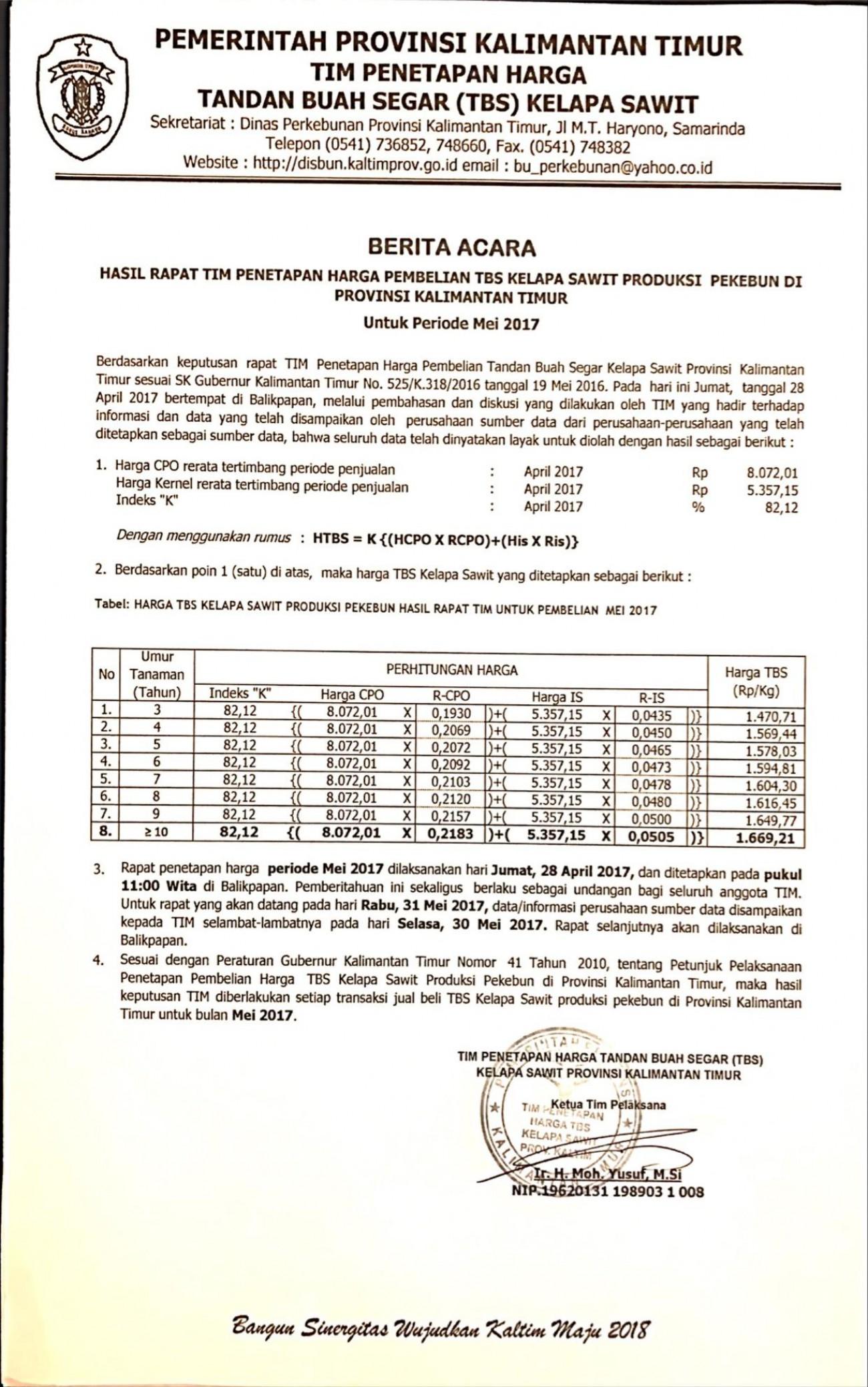 Informasi Harga TBS Kelapa Sawit Bulan Mei 2017