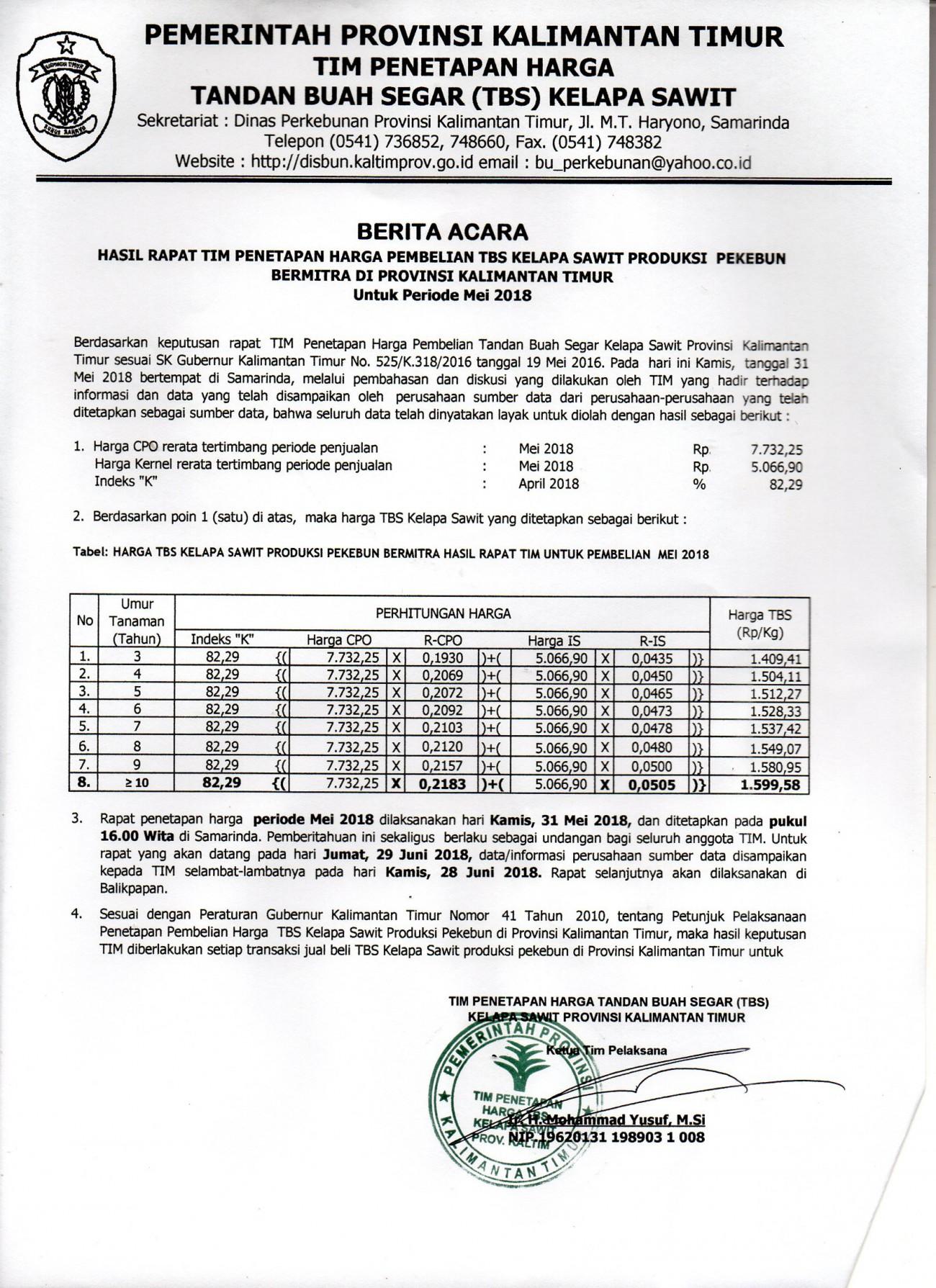 Informasi Harga TBS Kelapa Sawit Bulan Mei 2018