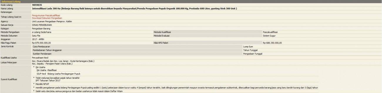 Pengumuman Lelang Intensifikasi Lada 300 Ha (Belanja Barang fisik lainnya untuk diserahkan kepada Masyarakat/Pemda Pengadaan Pupuk Organik 180.000 Kg, Pestisida 600 Liter, gunting Stek 300 Unit)