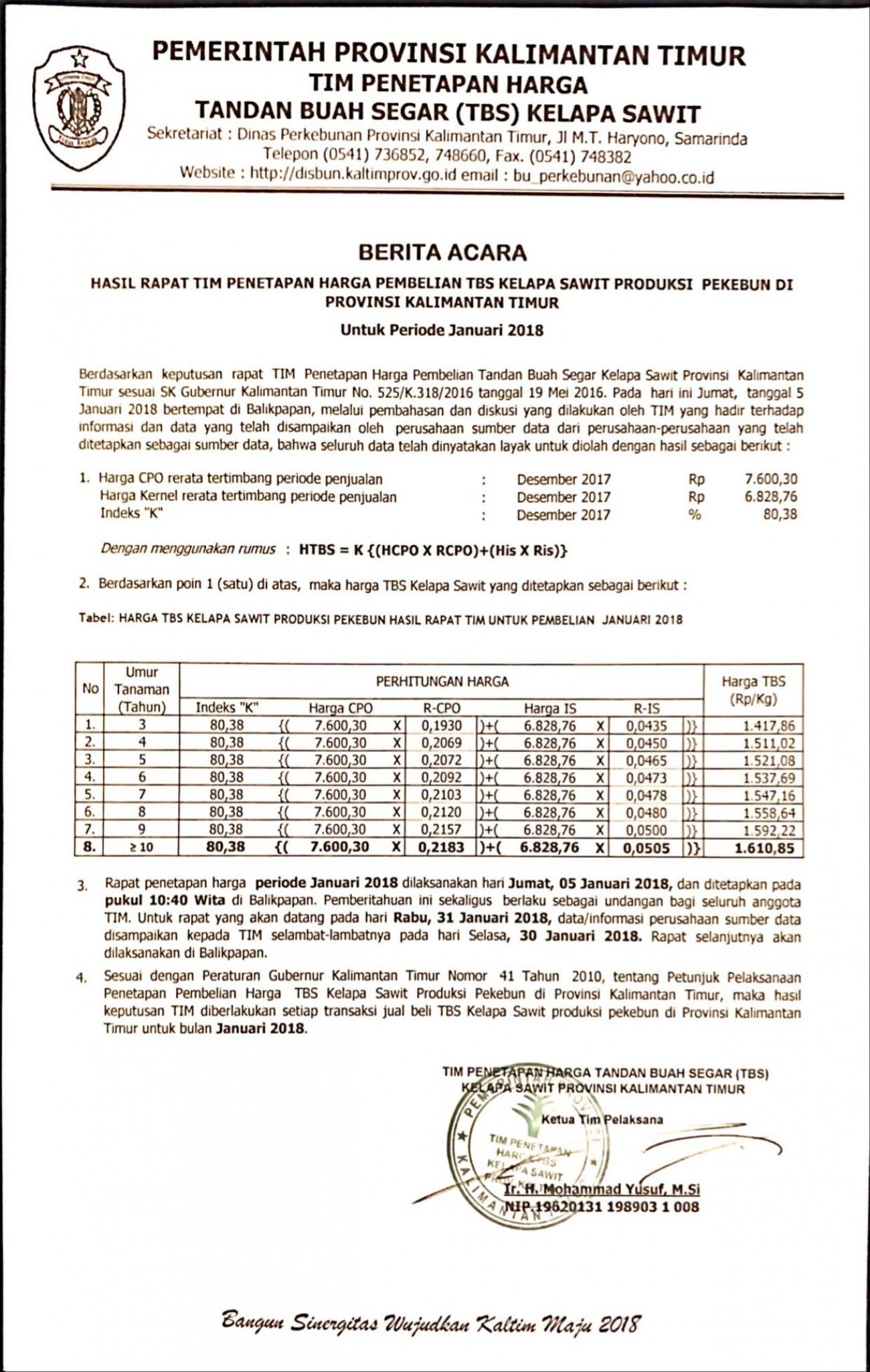 Informasi Harga TBS Kelapa Sawit Bulan Januari 2018