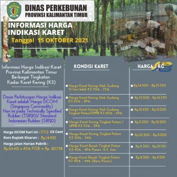 Informasi Harga Indikasi Karet Per 15 Oktober  2021