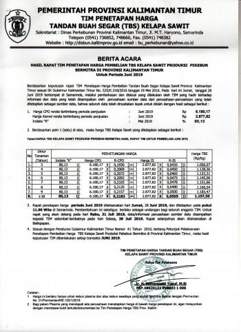 Informasi Harga TBS Kelapa Sawit Bagi Pekebun Bermitra Bulan Juni 2019