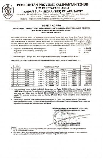 Informasi Harga TBS Kelapa Sawit Bagi Pekebun Bermitra Bulan Mei 2019