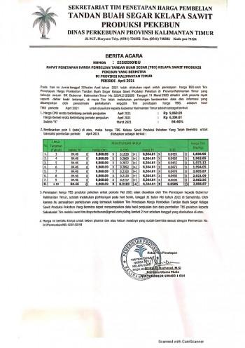 Informasi Harga TBS Kelapa Sawit Bagi Pekebun Bermitra Bulan April 2021