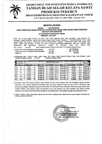 Informasi Harga TBS Kelapa Sawit Bagi Pekebun Bermitra Bulan Juni 2021