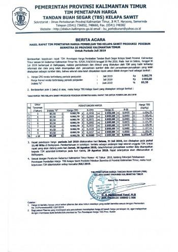 Informasi Harga TBS Kelapa Sawit Bagi Pekebun Bermitra Bulan Juli 2019