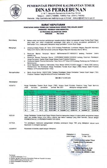 Informasi Harga TBS Kelapa Sawit Bagi Pekebun Bermitra Bulan Mei 2021